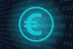 Business money sign illustration. Vector business theme illustration. A euro sign against the background of electronic digits Royalty Free Stock Photos