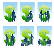 Business Money Silhouettes. An illustration featuring your choice of 6 business silhouettes featuring various professionals in different situations with green Stock Photo