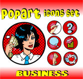 Business money top signs. Vector pop art style icons set. woman in business Royalty Free Stock Photos