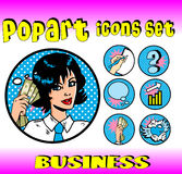 Business money top signs woman. Business money top signs. vector pop art style icons set. woman in business Stock Photos