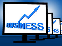 Business On Monitors Showing Corporate Progress Stock Images