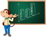 Business monkey and black board. Business monkey presenting information on blackboard Stock Images