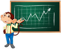 Business monkey and board. Business monkey presenting information on a blackboard Royalty Free Stock Photography