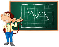 Business monkey and board. A business monkey presenting information Royalty Free Stock Image