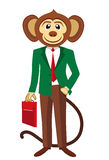 Business monkey in a green blazer. White background. Royalty Free Stock Image