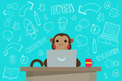 Business Monkey with handdrawn Doodles. Stock Photos