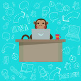 Business Monkey with handdrawn Doodles. Vector illustration Stock Image