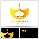 Business card template with logo. Business monochrome card template with bright yellow logo Stock Photos