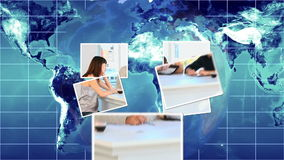 Business montage against a blue world map Royalty Free Stock Images
