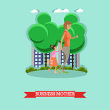 Business mother and gadgets concept vector illustration in flat style. Royalty Free Stock Photography