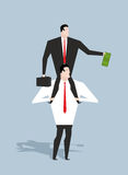 Business motivation. Boss stimulates manager job. Director sitti. Ng on neck of an employee. Monetary stimulation. Dollar in hand. Cash earnings. Award at work Stock Images