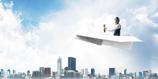Business motivation concept with pilot airplane stock images