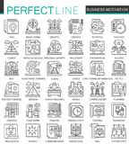 Business motivation and discipline outline mini concept symbols. Modern stroke linear style illustrations set. Perfect. Thin line icons stock illustration