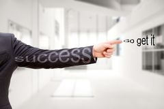 Business motivation success go get it. Concept, finger pointing an Stock Photos