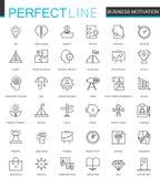 Business motivation thin line web icons set. Brain productivity concentration outline stroke icon design. Stock Photos