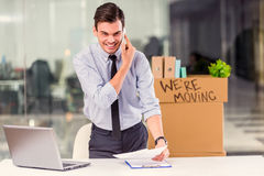 Business moving in office Royalty Free Stock Photo