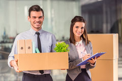 Business moving in office Royalty Free Stock Image
