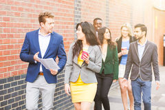 Business multiracial group walking in London royalty free stock images