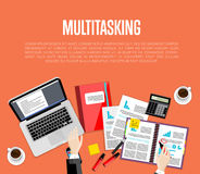 Business multitasking concept. Top view workspace Royalty Free Stock Photos