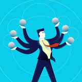 Business multitasking man concept illustration. Business multitask concept illustration, acrobat office man juggling with copy space elements. Contemporary flat Stock Photos