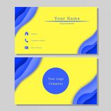 Business Name Card Design Blue Yellow. Business name card design blue color with yellow background stock illustration