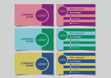 Business Name Card with Two-Colored Retro Design Mockup Set Vect Royalty Free Stock Image