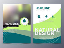 Business and nature brochure design template vector. In A4 size for use as company annual report, poster,flyer stock illustration