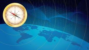 Business navigation. Wide-screen illustration of digital world with compass vector illustration