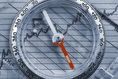 Business Navigation. Compass on top of financial graph Royalty Free Stock Photography