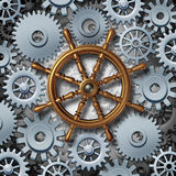 Business Navigation. Concept as a marine boat steering wheel connected to gears and cog wheels as a metaphor for financial corporate management and career Stock Photos