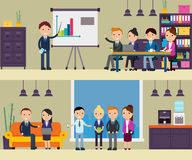Business Negotiation Composition. With people at meeting presentation conference discussion and interview in flat style vector illustration Royalty Free Stock Photography