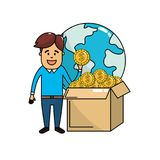 Business negotiation money and global crowdfunding. Vector illustration Royalty Free Stock Images