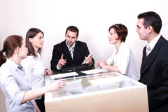 Business Negotiations. Group of people negotiate at the desk Stock Photo