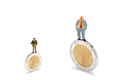 Business negotiations. Businessman on coins finance concept,isolated on white with clipping path Stock Images