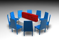 Business negotiations 3d concept with table and chairs Stock Image