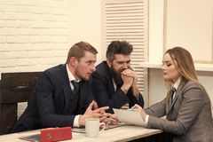 Woman lawyer explain terms of transaction. Business negotiations concept. Business partners, businessmen at meeting. Business negotiations, discuss conditions of Stock Photo