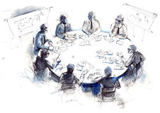 Business. Negotiations leaders round table Royalty Free Stock Photos