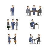 Business negotiations. Scenes set vector illustration stock illustration