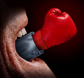 Business Negotiator. And fighting words as a concept of freedom of expression and the fight for legal  justice system as with a screaming mouth and a red boxing Royalty Free Stock Photography