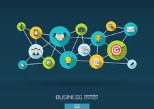 Business network. background with integrate flat icons Royalty Free Stock Photography