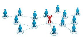 Business network concept. Business network with one person connected to the rest stock illustration