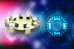 Business Network Concept. 3d render. 3d rendering business network concept in digital background Stock Image