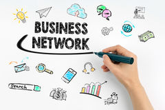 Business network concept. Hand with marker writing Stock Images