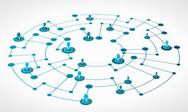 Business network grid. Abstract illustration of blue business network grid vector illustration