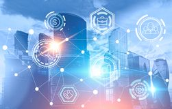 Business network icons over blue cityscape. Background. Immersive interface and global network. Toned image double exposure mock up stock illustration
