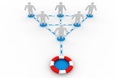 Business network and life buoy Royalty Free Stock Photo