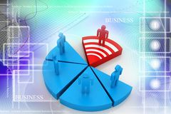 Business Network with pie graph Stock Photo