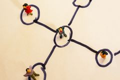 Business network scheme which contains miniature business people connected to each other. Networking concept.  stock photo