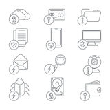 Business network security and data protection line. Art icons. Internet and lock, computer information and webcam, server database, cloud access, vector Stock Images