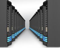 Business network of servers in perspective Royalty Free Stock Image
